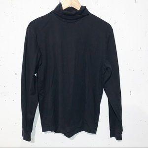 Eddie Bauer Soft Cotton Black Women's Turtleneck Long Sleeve Top Size Large